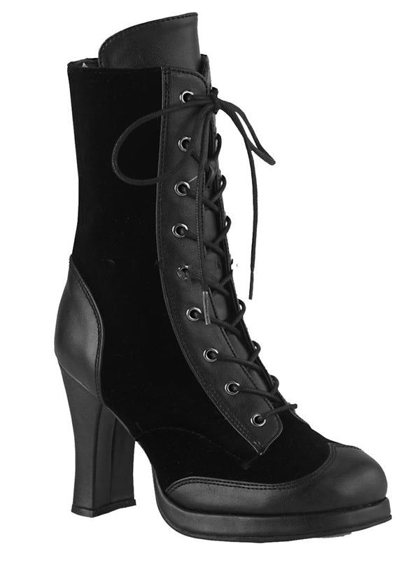 "Women's ""Crypto 63"" Lace-Up Mid-Calf Boots by Demonia (Black)"