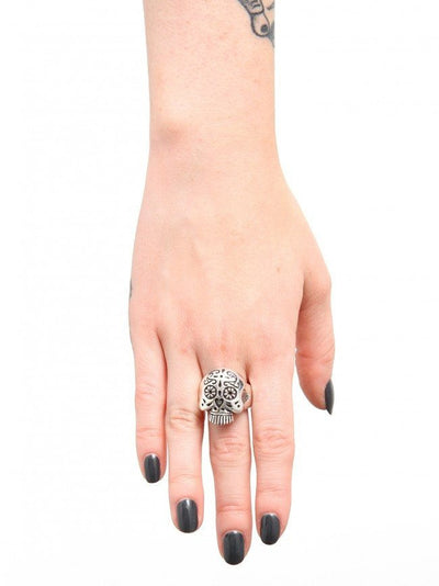 """Sugar Skull"" Ring by Femme Metale (Sterling Silver) - InkedShop - 2"