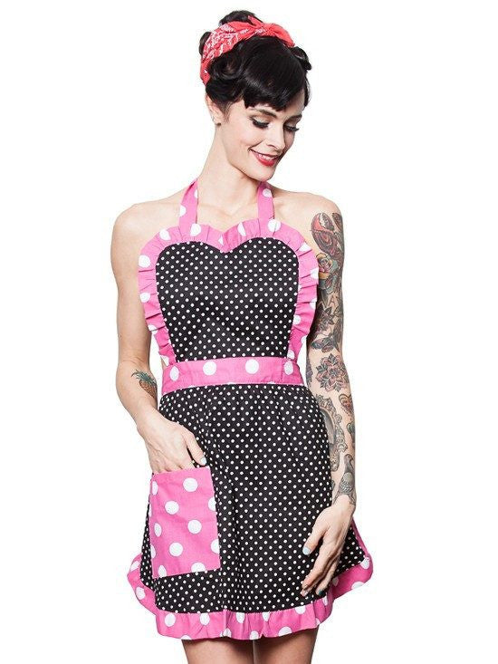 Black and White with Pink and Polka Dots Apron by Hemet - InkedShop - 1