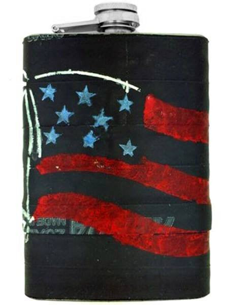 """American Flag"" Recycled Bicycle Rubber Flask by The 3 Sisters Design Co. - www.inkedshop.com"