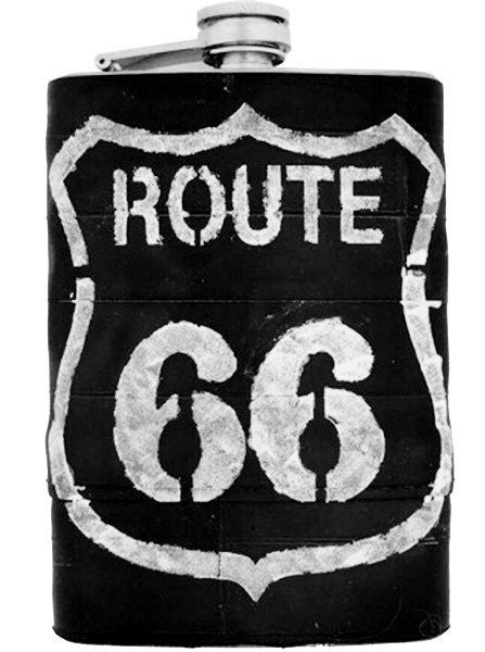 """Route 66"" Recycled Bicycle Rubber Flask by The 3 Sisters Design Co. - www.inkedshop.com"