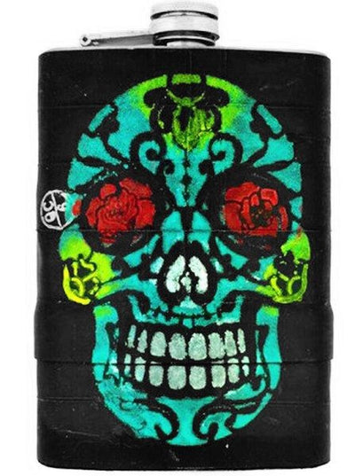 """Skull"" Recycled Bicycle Rubber Flask by The 3 Sisters Design Co. - www.inkedshop.com"