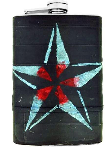 """Star"" Recycled Bicycle Rubber Flask by The 3 Sisters Design Co. - www.inkedshop.com"
