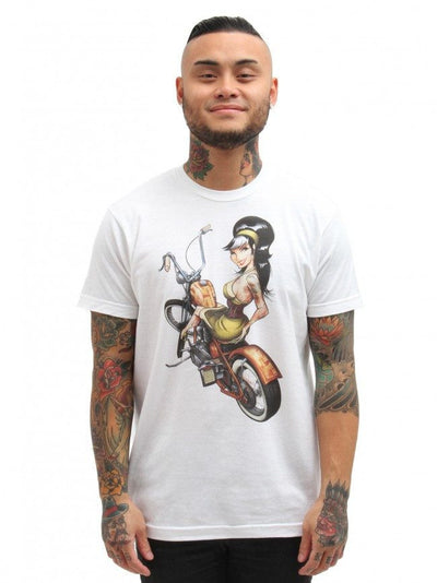 "Men's ""Hard Tail"" Tee by Lowbrow Art Company (White) - InkedShop - 1"