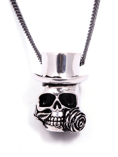 """Baron Samedi Skull"" Necklace by Lost Apostle (Antique Silver) - InkedShop - 3"