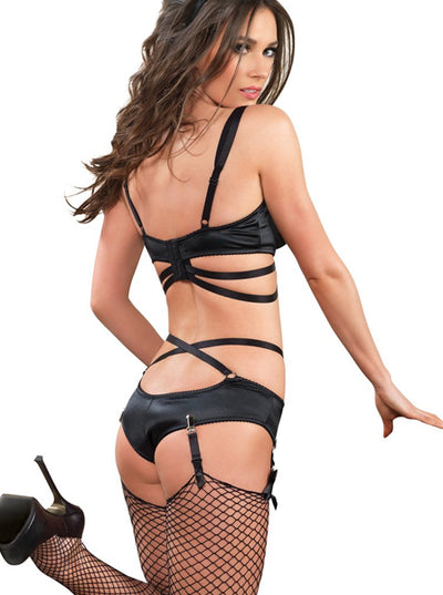 "Women's ""2pc Cage Strap Bra Set"" by Leg Avenue (Black)"