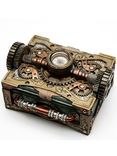 Steampunk Box with Compass by Pacific Trading - www.inkedshop.com