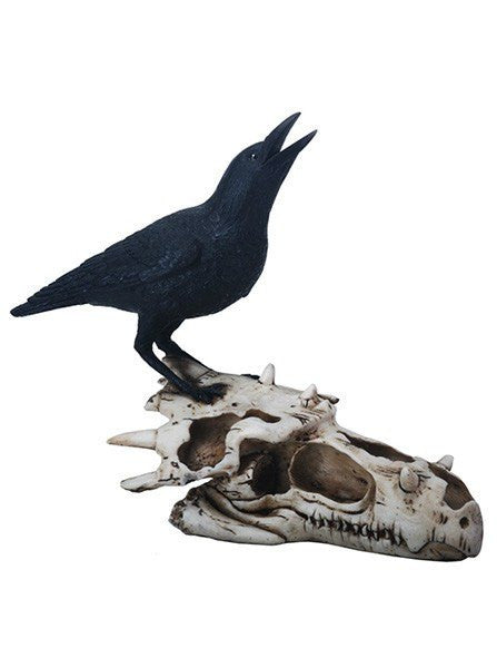 Raven On Dragon Skull Statue by Summit Collection - www.inkedshop.com