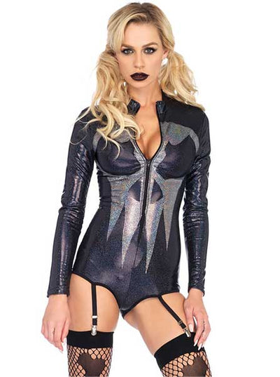 "Women's ""Iridescent Skull"" Bodysuit by Leg Avenue (Black)"