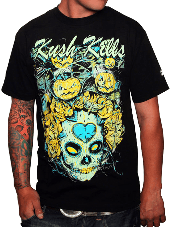 "Men's ""Pumpkin Bats"" Tee by Kush Kills Clothing (Black) - InkedShop - 1"