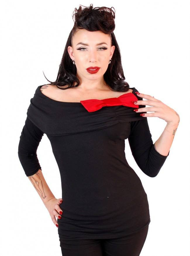 "Women's ""Big Collar"" Bow Top by Pinky Pinups (Black) - www.inkedshop.com"
