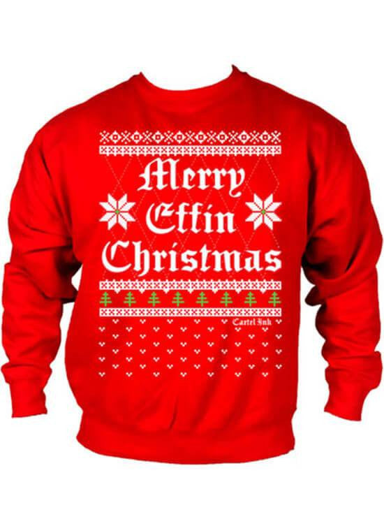 "Men's ""Merry Effin Chistmas"" Ugly Sweater Crew Neck by Cartel Ink (Red) - www.inkedshop.com"