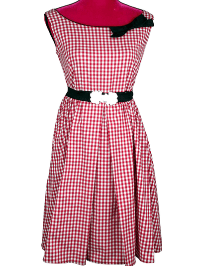 "Women's ""Halter Neck"" Swing Dress by Pinky Pinups (Red/White) - www.inkedshop.com"
