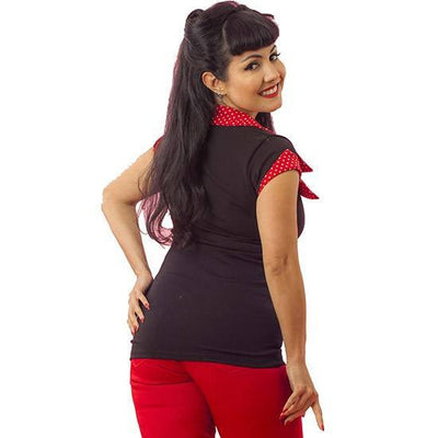 "Women's ""Dot"" Tailored Top by Pinky Pinups (Black) - www.inkedshop.com"