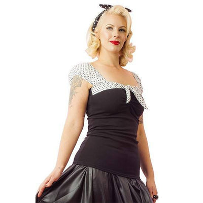 "Women's ""Puff"" Sleeve Top by Pinky Pinups (Black/White) - www.inkedshop.com"