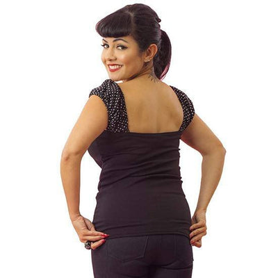 "Women's ""White Dot"" Puff Sleeve by Pinky Pinups (Black) - www.inkedshop.com"