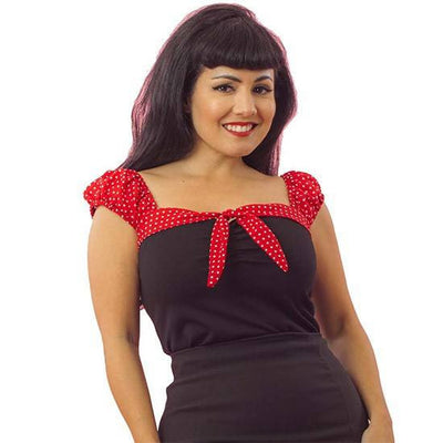 "Women's ""Red Dot"" Puff Sleeve by Pinky Pinups (Blue) - www.inkedshop.com"