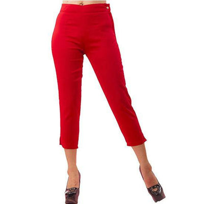 Women's Side Zipper Capri Denim Pants by Pinky Pinups (Red) - www.inkedshop.com