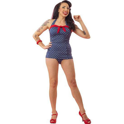 "Women's ""Dot"" One Piece Bathing Suit by Pinky Pinups (Blue/White) - www.inkedshop.com"