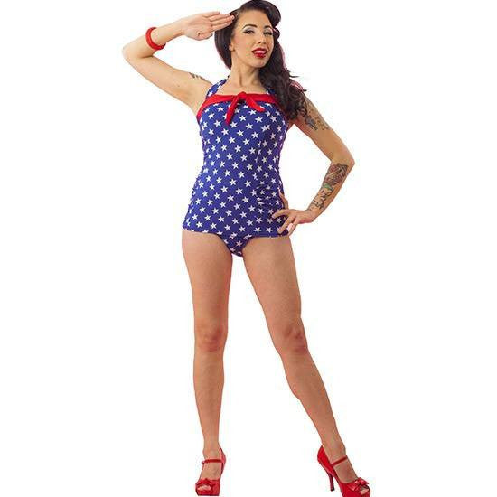"Women's ""Stars and Stripes"" One Piece Bathing Suit by Pinky Pinups (Blue/White) - www.inkedshop.com"