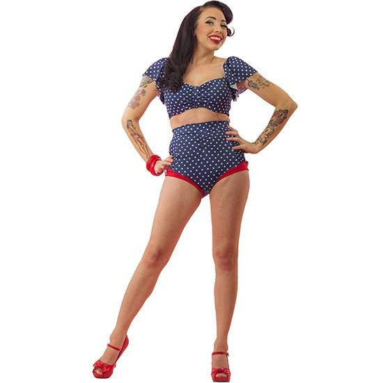 Women's Polka Dot Two Piece Bathing Suit by Pinky Pinups (Blue/White) - www.inkedshop.com