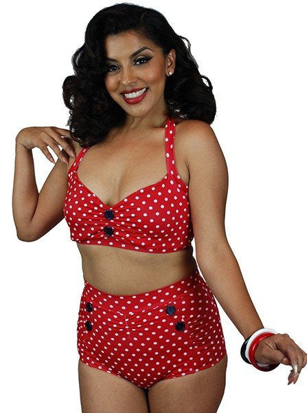 "Women's ""Vintage"" Two Piece Swimsuit by Pinky Pinups (Red/White) - www.inkedshop.com"