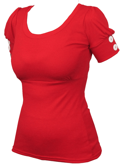 "Women's ""Puff Sleeve"" Cuff Top by Pinky Pinups (Red) - www.inkedshop.com"