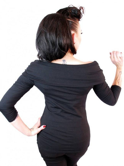 "Women's ""Solid"" Off The Shoulder Top by Pinky Pinups (Black) - www.inkedshop.com"