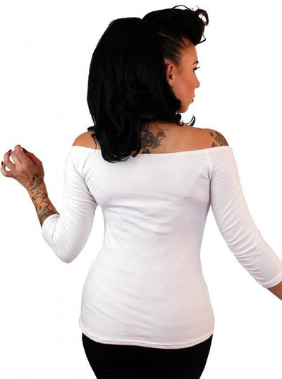 "Women's ""Solid"" Off The Shoulder Top by Pinky Pinups (White) - www.inkedshop.com"