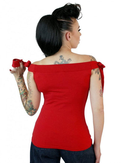 "Women's ""Solid"" Shoulder Top by Pinky Pinups (Red) - www.inkedshop.com"