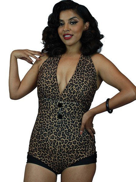 "Women's ""Anchor Print"" Front Bow One Piece Swimsuit by Pinky Pinups (Leopard) - www.inkedshop.com"