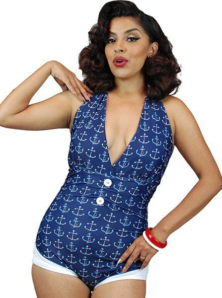 "Women's ""Anchor Print"" Front Bow One Piece Swimsuit by Pinky Pinups (Blue) - www.inkedshop.com"