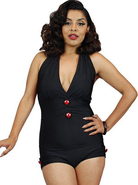 "Women's ""Anchor Print"" Front Bow One Piece Swimsuit by Pinky Pinups (Black) - www.inkedshop.com"