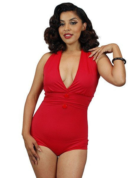 "Women's ""Anchor Print"" Front Bow One Piece Swimsuit by Pinky Pinups (Red) - www.inkedshop.com"