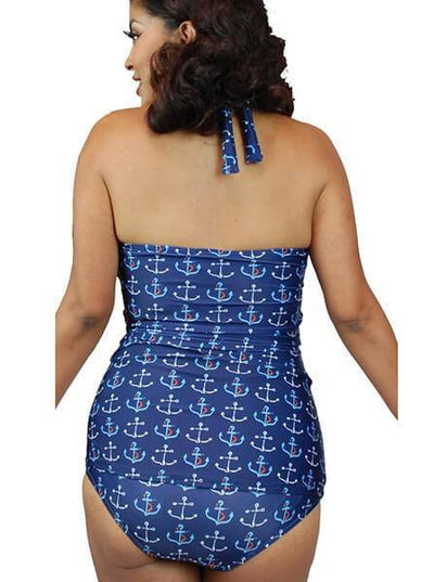 "Women's ""Anchor"" Swimsuit by Pinky Pinups (Blue) - www.inkedshop.com"