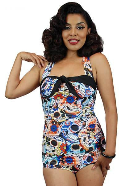 "Women's ""Sugar Skull"" One Piece Swimsuit by Pinky Pinups (Multi) - www.inkedshop.com"
