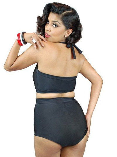 "Women's ""Vintage"" Two Piece Swimsuit by Pinky Pinups (Black) - www.inkedshop.com"