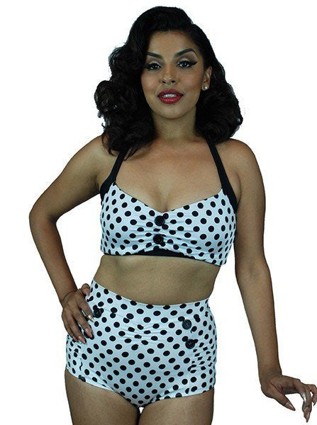 "Women's ""Vintage"" Two Piece Swimsuit by Pinky Pinups (White/Black Dots) - www.inkedshop.com"