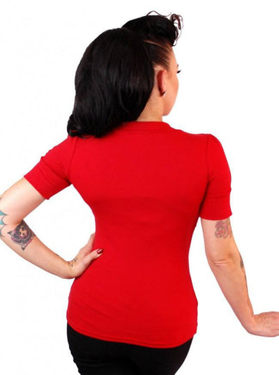 "Women's ""Puff Sleeve"" Bow Top by Pinky Pinups (Red) - www.inkedshop.com"