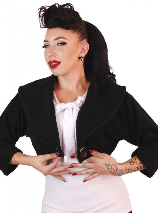 "Women's ""Sailor"" Bolero Jacket by Pinky Pinups (Black) - www.inkedshop.com"