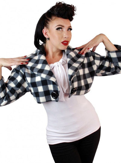 "Women's ""Sailor"" Bolero Jacket by Pinky Pinups (Checkered) - www.inkedshop.com"
