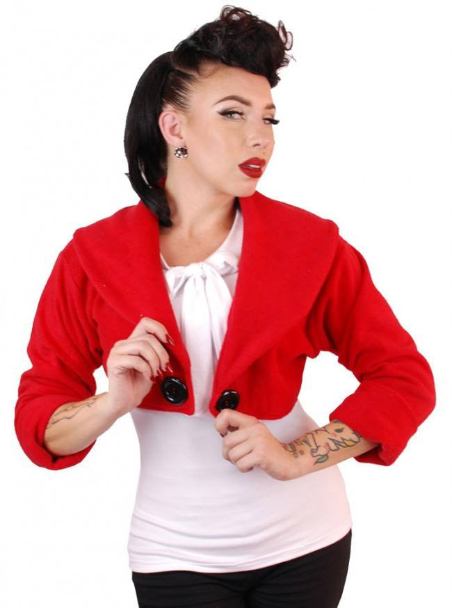 "Women's ""Sailor"" Bolero Jacket by Pinky Pinups (Red) - www.inkedshop.com"