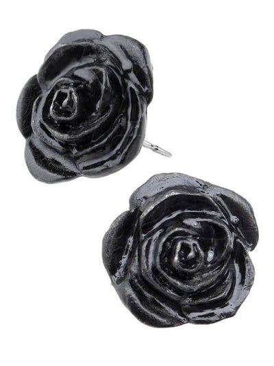 """Black Rose"" Stud Earrings by Alchemy of England - InkedShop - 1"
