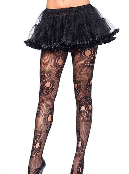 "Women's ""Sugar Skull"" Net Pantyhose by Leg Avenue (Black) - www.inkedshop.com"