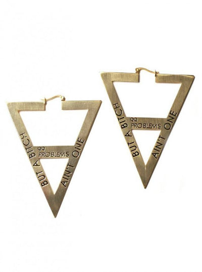 """99 Problems"" Earrings by Samii Ryan Jewelry (Gold) - www.inkedshop.com"