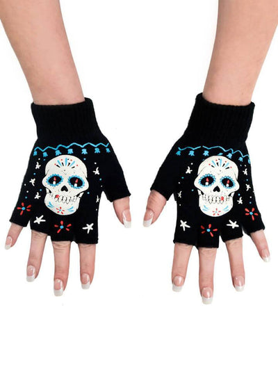 """Sugar Skull Board"" Fingerless Gloves by Too Fast (Black) - www.inkedshop.com"