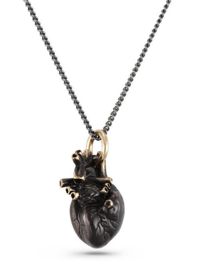 """Black Anatomical Heart Necklace"" by Lost Apostle (Bronze) - www.inkedshop.com"