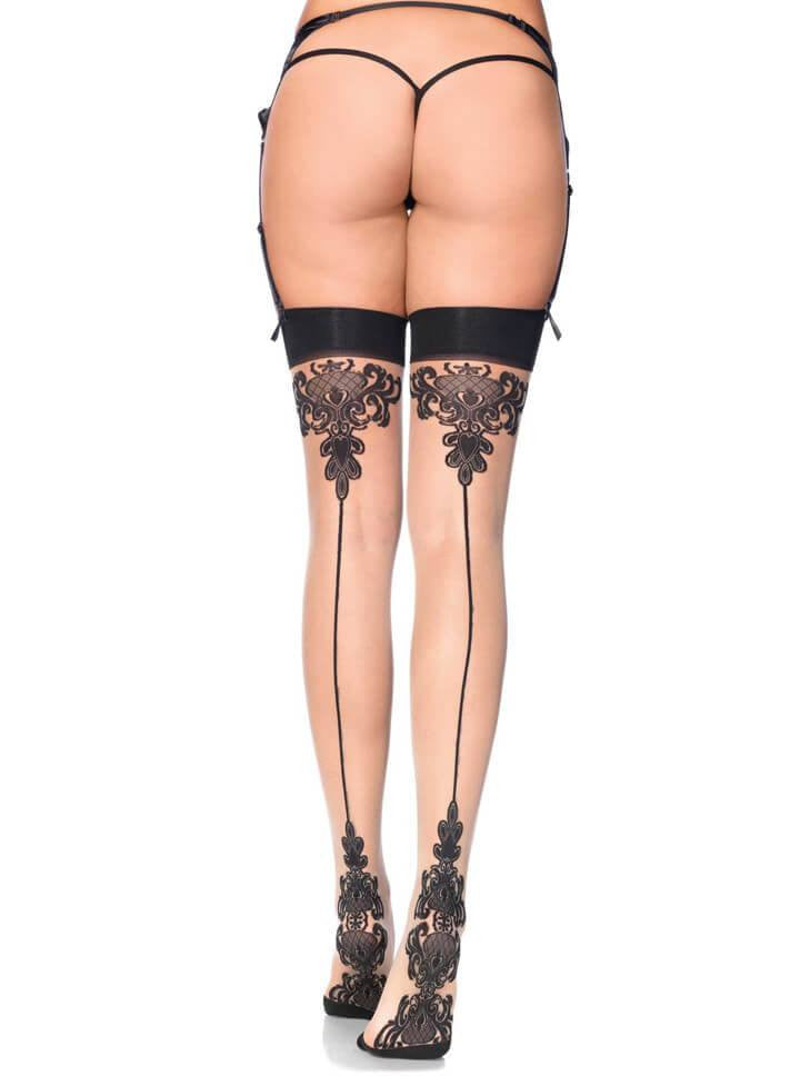 "Women's ""Baroque Cuban Heel"" Stocking by Leg Avenue (Black) - www.inkedshop.com"