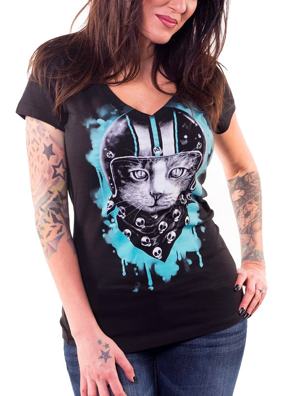 Women's Biker Cat V Neck Tee by Lethal Angel