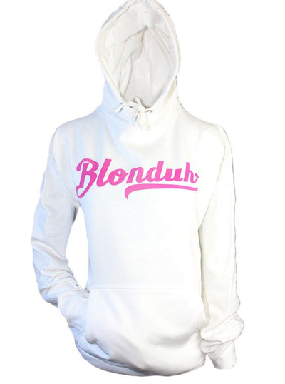 "Women's ""Blonduh"" Hoodie by Demi Loon (White) - www.inkedshop.com"